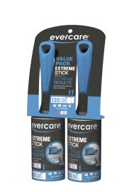 Evercare Extreme Stick Lint Pick-Up Roller, 2-Pack Set of 60 Sheets each roller