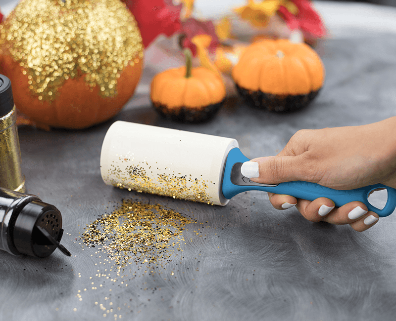 Evercare Lint Roller Picking Up Confetti